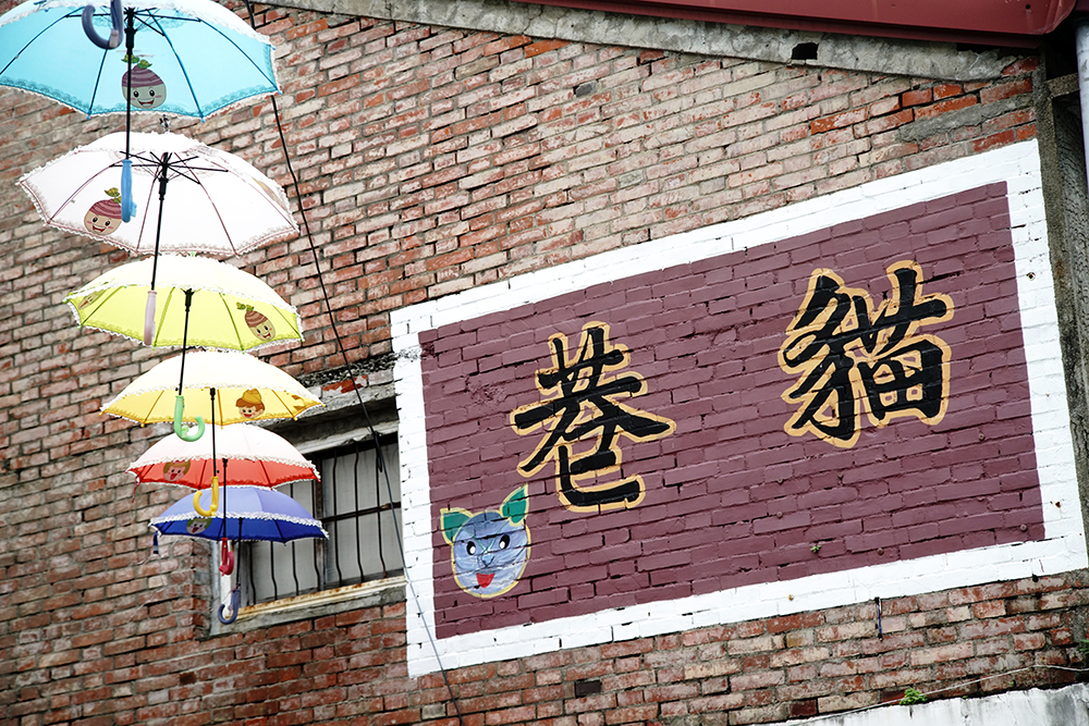 貓巷是甲仙國小、國中學童一起彩繪完成。