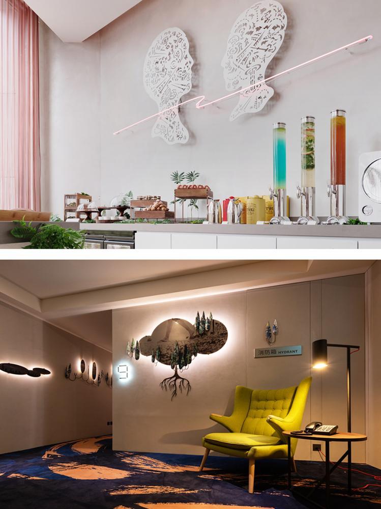 (上)剪紙藝術師吳耿禎的作品。(下)比歐邀請國內藝術家參與室內藝術規劃。