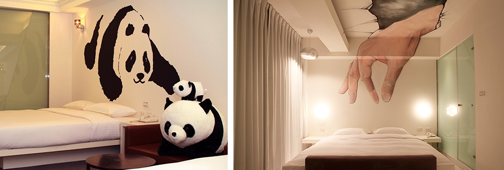 (左)逗趣的熊貓房,觸目可見具療癒感的黑白身影 。(右)從屋頂伸進房內的巨大手掌。
