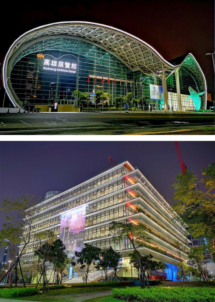 上:高雄展覽館。下:高雄市立圖書館總館。
