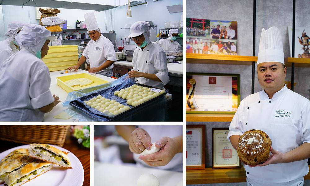 (左)王鵬傑相當注重衛生,進入烘培室需要經過除塵程序,帽子和口罩是每個人必備配件;『蔥。起司』是王鵬傑把台灣小吃元素加入歐式麵包的最新嘗試。(右)手上捧著比賽中受評審青睞的『荔香草莓』,王鵬傑顯得相