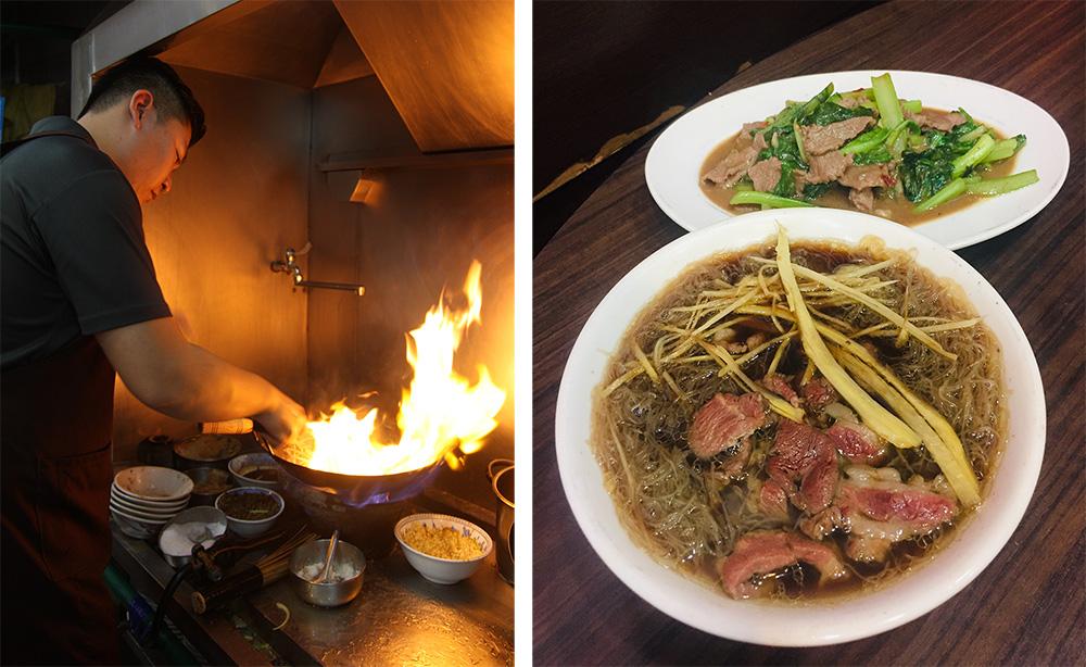 (左)舊市羊肉熱炒羊肉是師傅的手路菜。(右)一盤羊肉,一碗當歸羊肉湯,是冬日裡的一大享受。