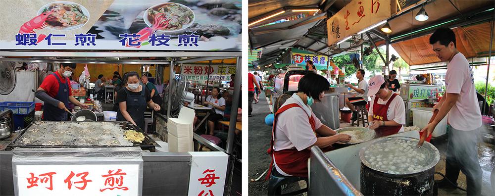 旁邊的大發路觀光市場裡有眾多攤販,生猛海鮮、或魚丸、零嘴。