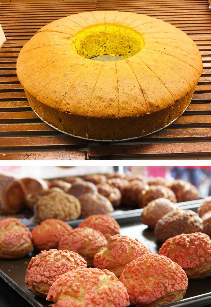 使用旗山新鮮香蕉做成的蛋糕;每日手工限量的波蘿泡芙,冰凍後有冰淇淋般的奇妙滋味。