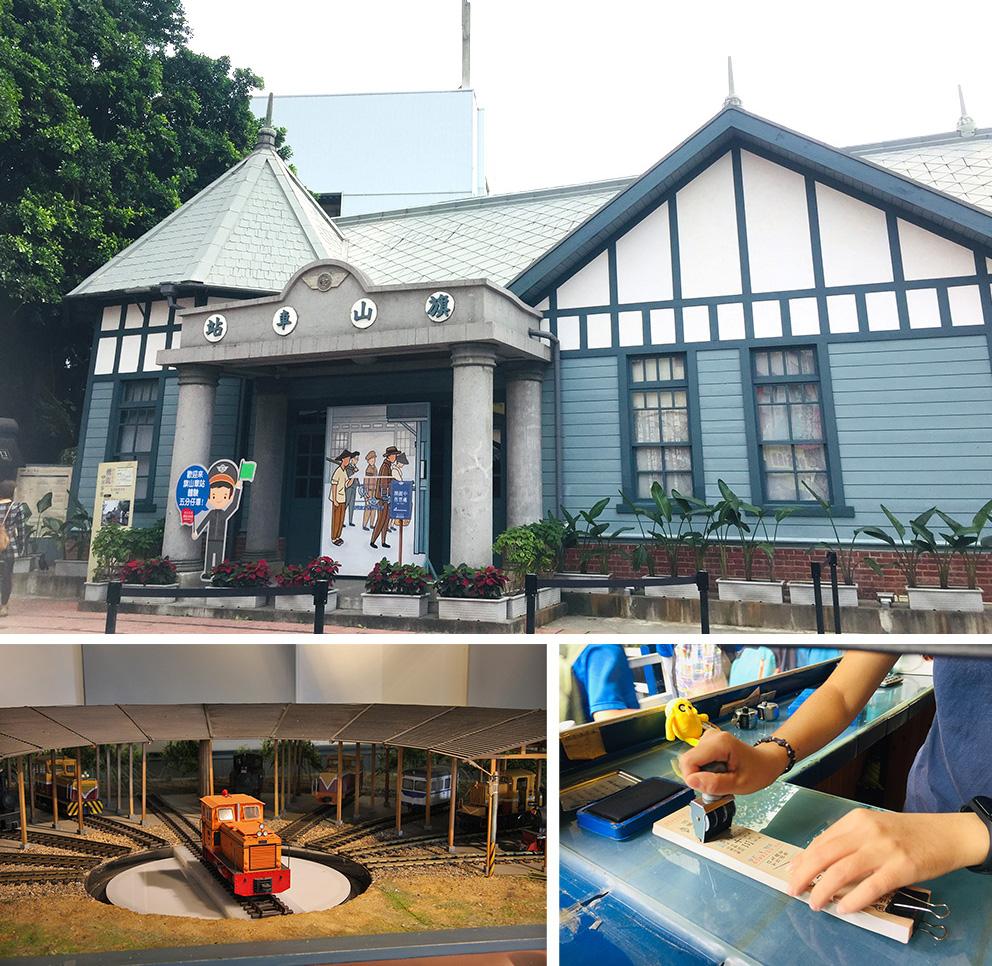 (上)旗山車站是老街上最具代表性的觀光亮點之一。(左)可愛的小火車伸展台。(右)門票做成懷舊車票。
