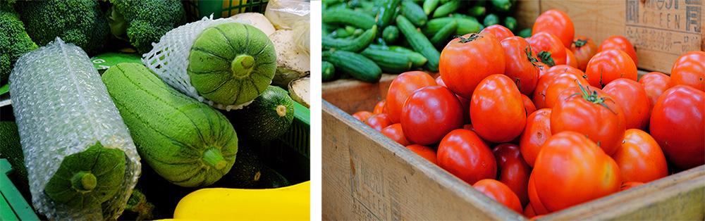 綠青翠絲瓜、紅蕃天番茄。(攝影╱Bill Hwang)