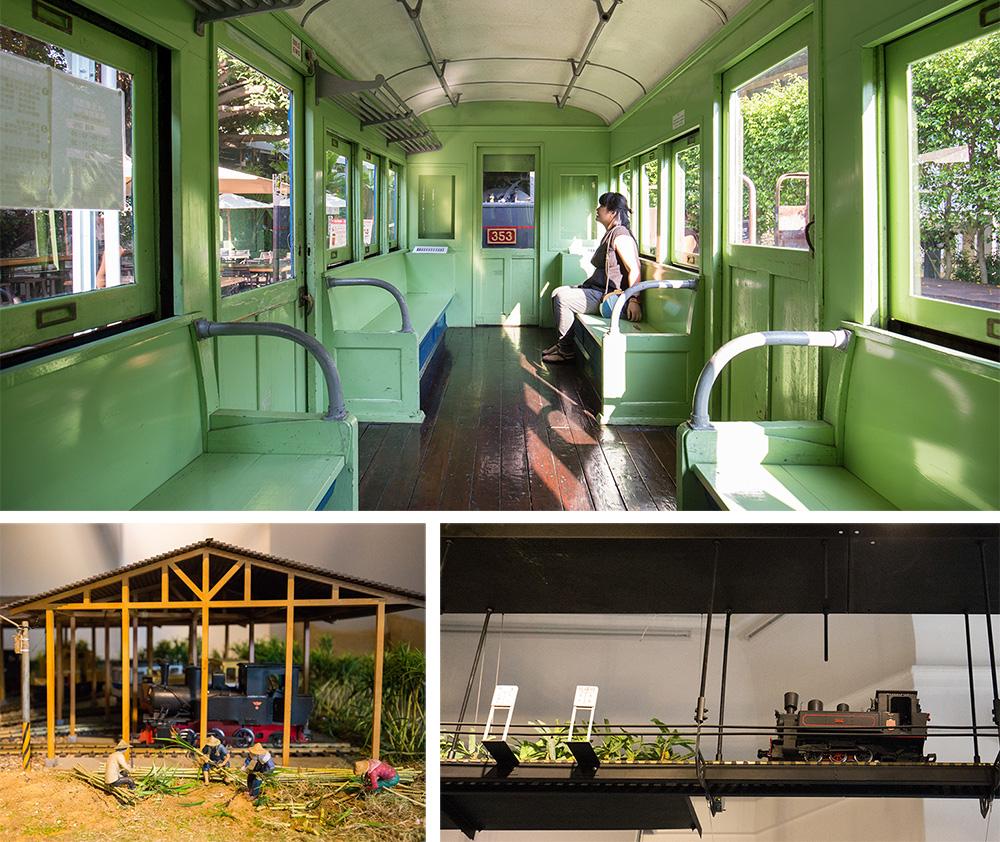 五分車車廂和小火車模型。(攝影/連偉志)