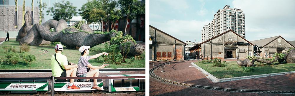 遊客搭乘小型軌道車暢遊哈瑪星台灣鐵道館。(攝影/郭宸志)