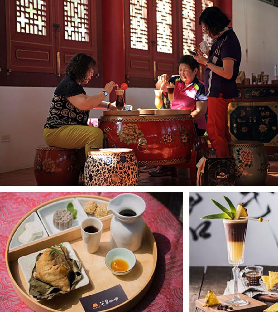 藏身高雄孔廟內的芒果咖秋。(上:攝影/張曉婷 ;下餐點:圖片提供/芒果咖秋)