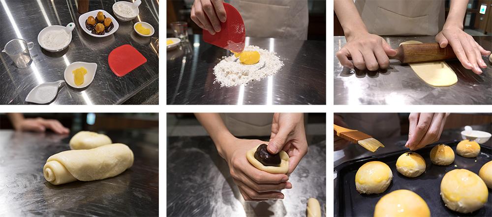 蛋黃酥製作過程。(攝影/N̂gChú-jiû黃子柔)