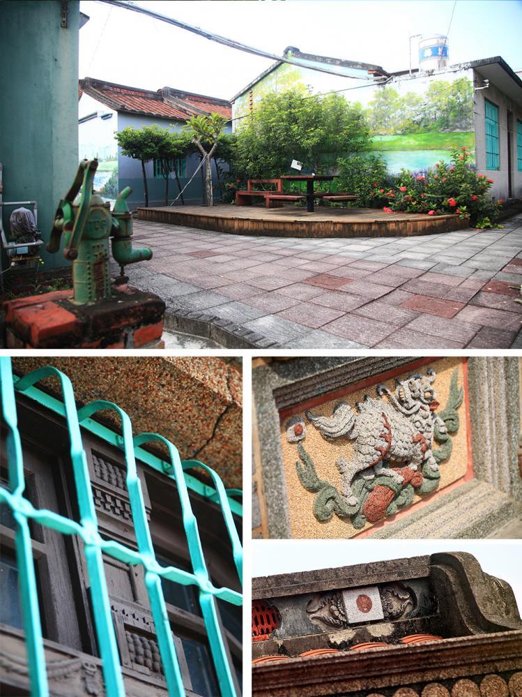 (上)三合院內處處能感受農村風情。(下)吳家古厝有許多難得一見的雕飾。(攝影/曾信耀)