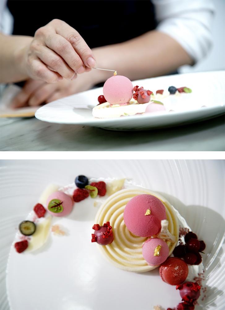 晚餐的主甜點「粉韻」,玫瑰覆盆子果醬、Ruby甜菜卡式達、檸檬薄荷慕斯,特別運用了4D模型技巧。(攝影/曾信耀)