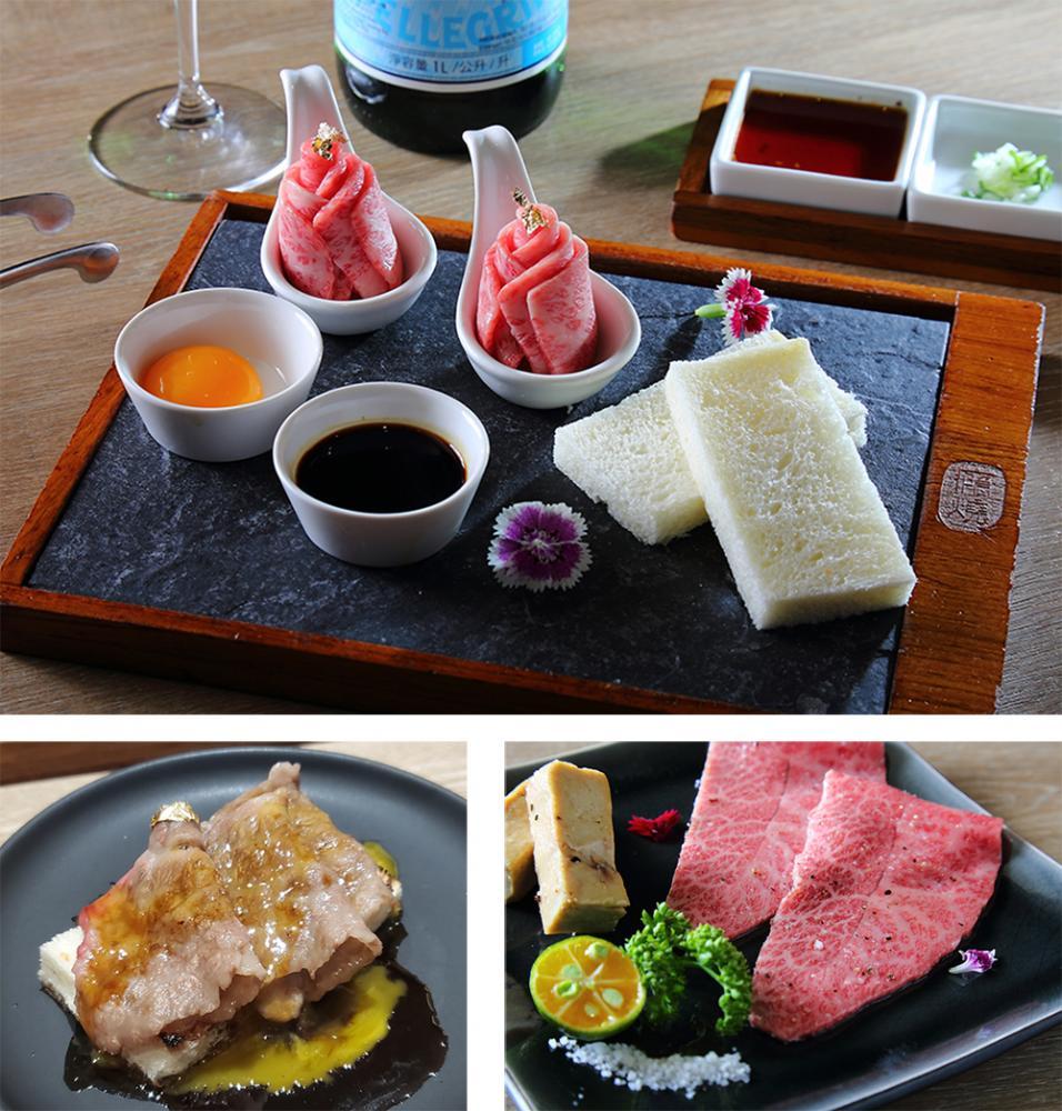 (上、下左)精選蛋黃吐司的發想源自於台灣中秋節常見的土司夾肉,入口細緻綿密。(下右)和牛板腱與鴨肝是結合日式及西式的經典料理。(攝影/Carter)