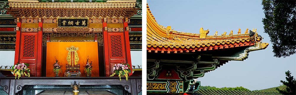 (左)左營孔子廟門柱沒有對聯,意謂不要在孔夫子面前賣文章。(右)飛簷走獸呈現建築位階的高低。(攝影/曾信耀)