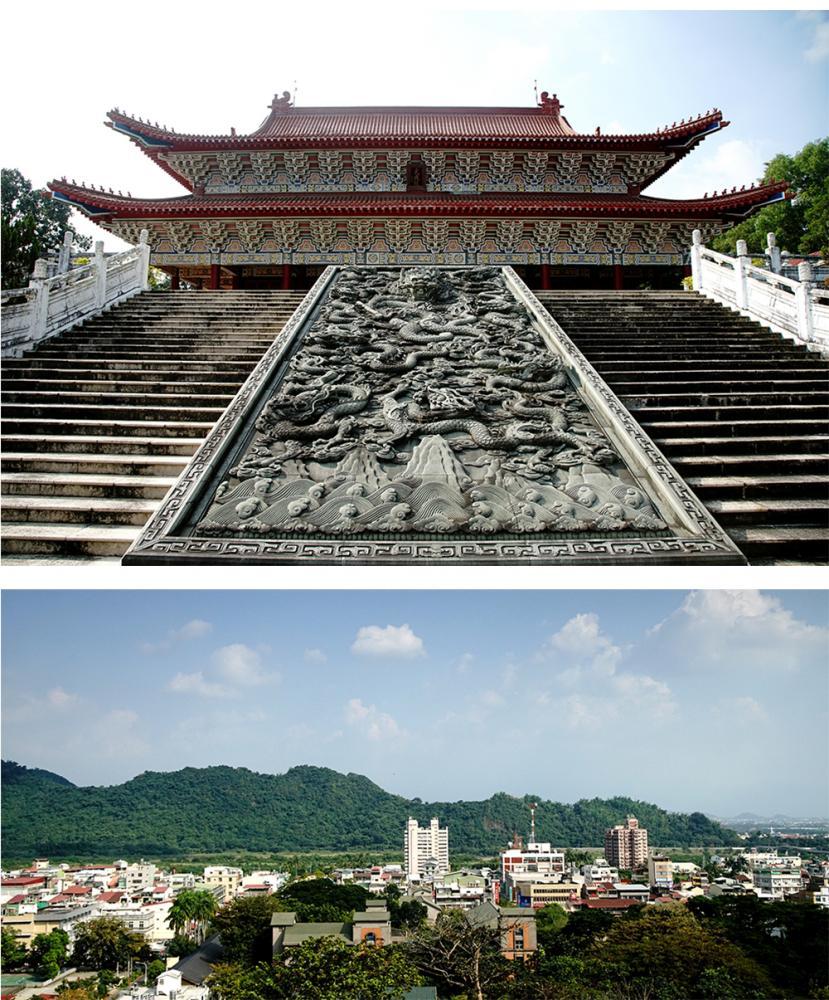 旗山孔子廟座落鼓山公園,占地4.1公頃,是全東南亞規模最大的孔廟,俯瞰旗山小鎮風光,風景絕佳。(攝影/曾信耀)