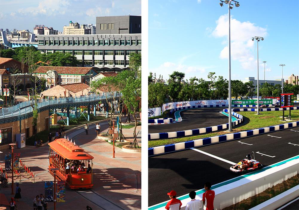 (左)鈴鹿賽道樂園是日本鈴鹿賽道唯一海外授權的主題樂園。(右)搭乘叮叮車從草衙道入口啟程,一路上充滿歡樂驚喜。(攝影/曾信耀)