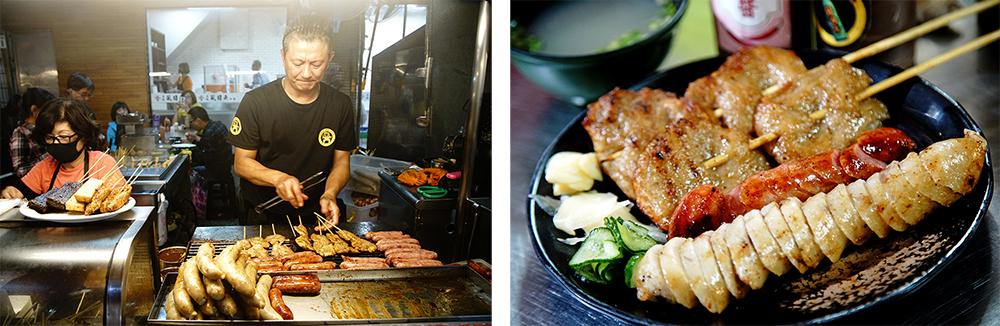 廖家黑輪的炭烤黑輪、大腸香腸是必點招牌。(攝影/曾信耀)