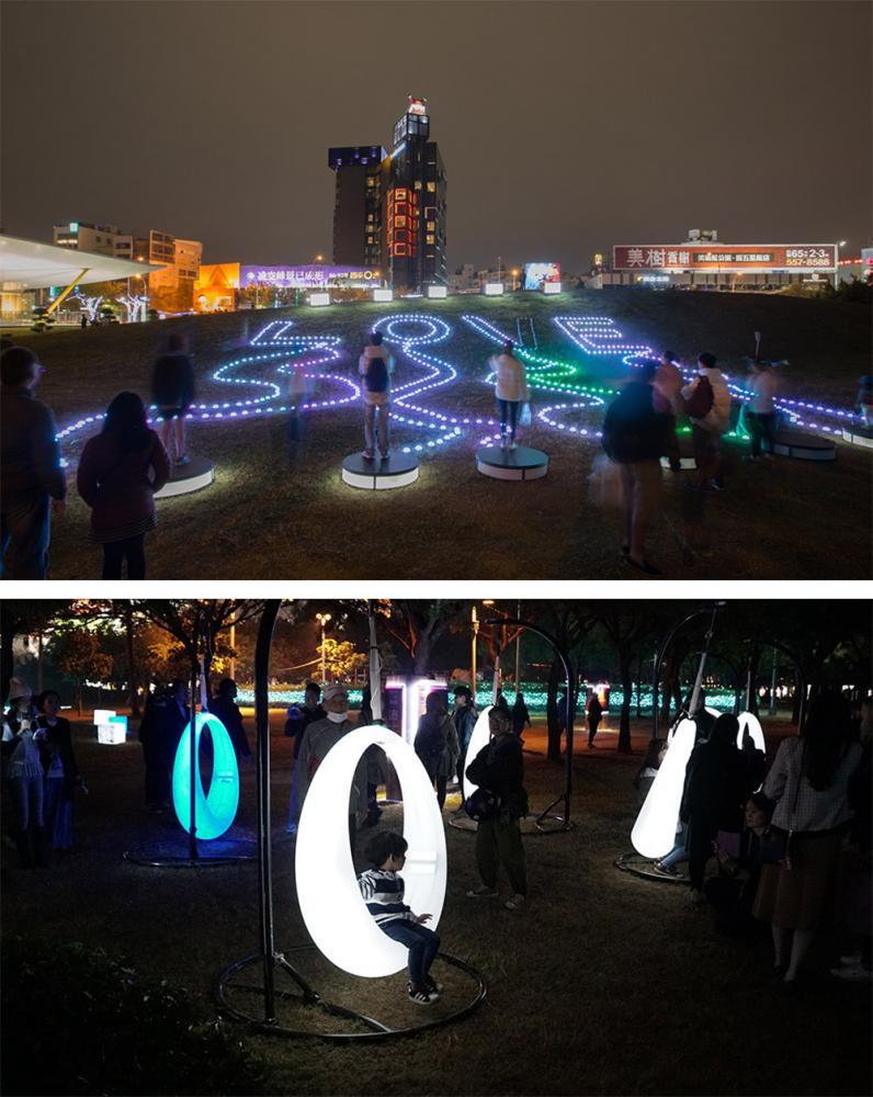 「CHILL ZONE」由創作者設計的月光鞦韆,讓小朋友們玩得超開心。(照片提供/高雄市政府新聞局)
