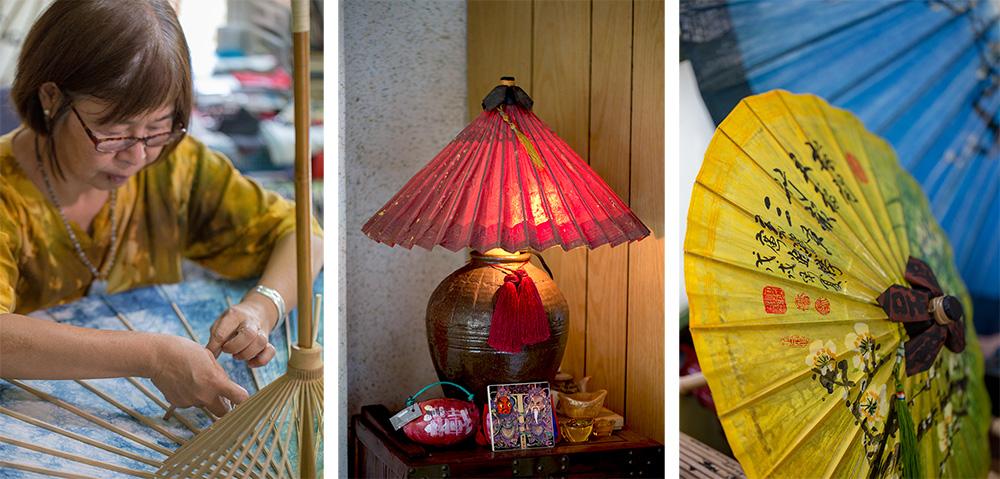 吳劍瑛將傳統的紙傘活用在居家生活佈置上。(攝影/連偉志)