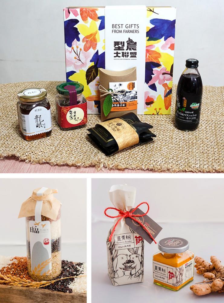 「型農大聯盟禮盒」結合多種高雄在地農產品。(上:攝影/quava,下:圖片提供/高雄市政府農業局)