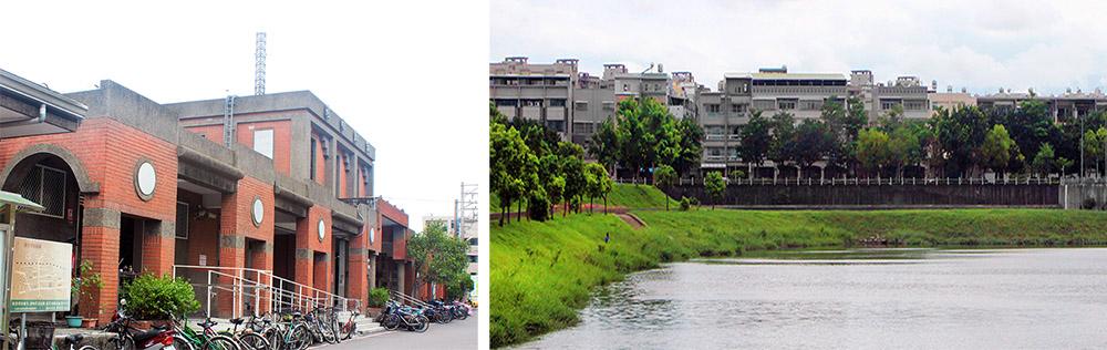 左:後庄車站,右:山仔頂溝滯洪池。(攝影/謝宏偉)