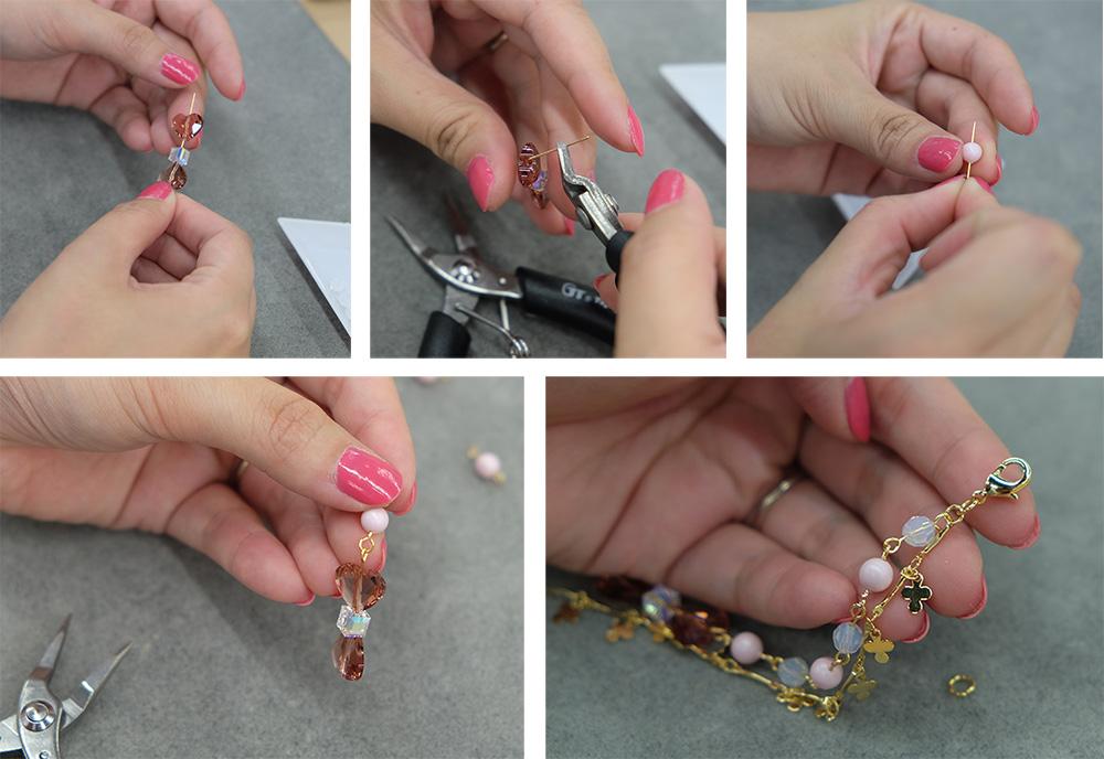 串珠手環製作過程。(攝影/N̂gChú-jiû黃子柔)