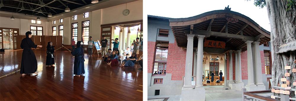 興濱旅宿營,就從武德殿的劍道體驗開始。(左:圖片提供/高雄市政府文化局,右:攝影/林喬俐)