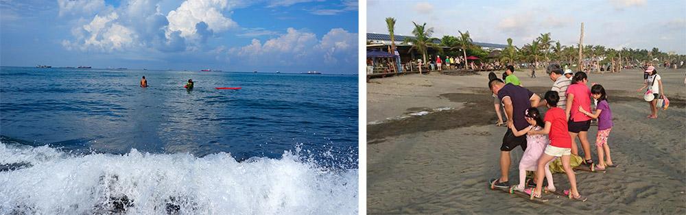 旗津可以衝浪,也可以在岸邊玩耍。(左:攝影/孫小龍攝影,右:圖片提供/旗津黑沙玩藝節)
