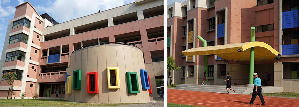 瑞豐國小新校舍的色彩繽紛,還有「毛毛蟲司令台」。(攝影/孫小龍)