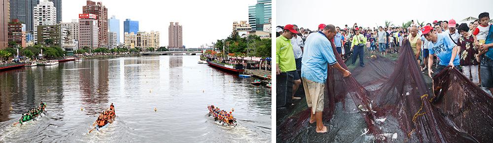 左:愛河賽龍舟。右:中芸漁港牽罟活動。(圖片提供/左:高雄市體育處、右:林園區公所)