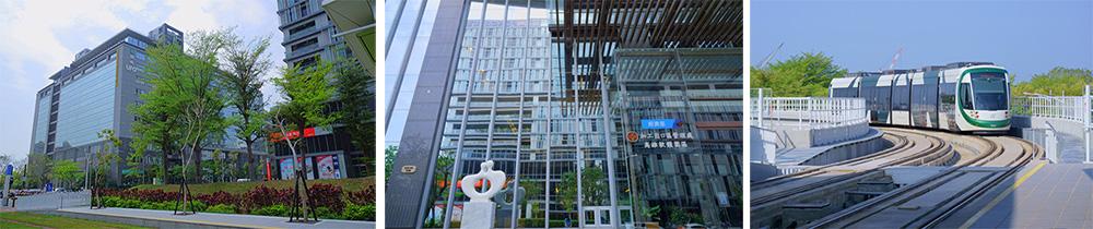 左、中:高雄軟體園區。右:輕軌(攝影/Bill Hwang)