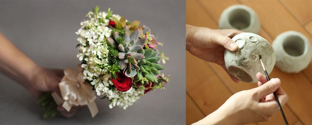 (左) 多肉植物也可以做成美麗捧花。(右) 連盆子都能DIY想要的顏色。