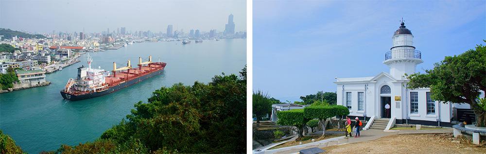 左:高雄港。右:旗后燈塔。(攝影/Bill Hwang)