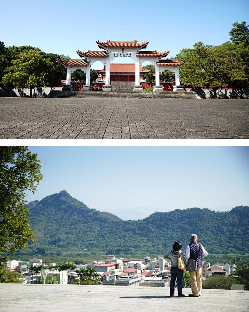 旗山孔子廟位於鼓山公園,從鼓山公園居高俯眺旗尾山連峰。(攝影/曾信耀)