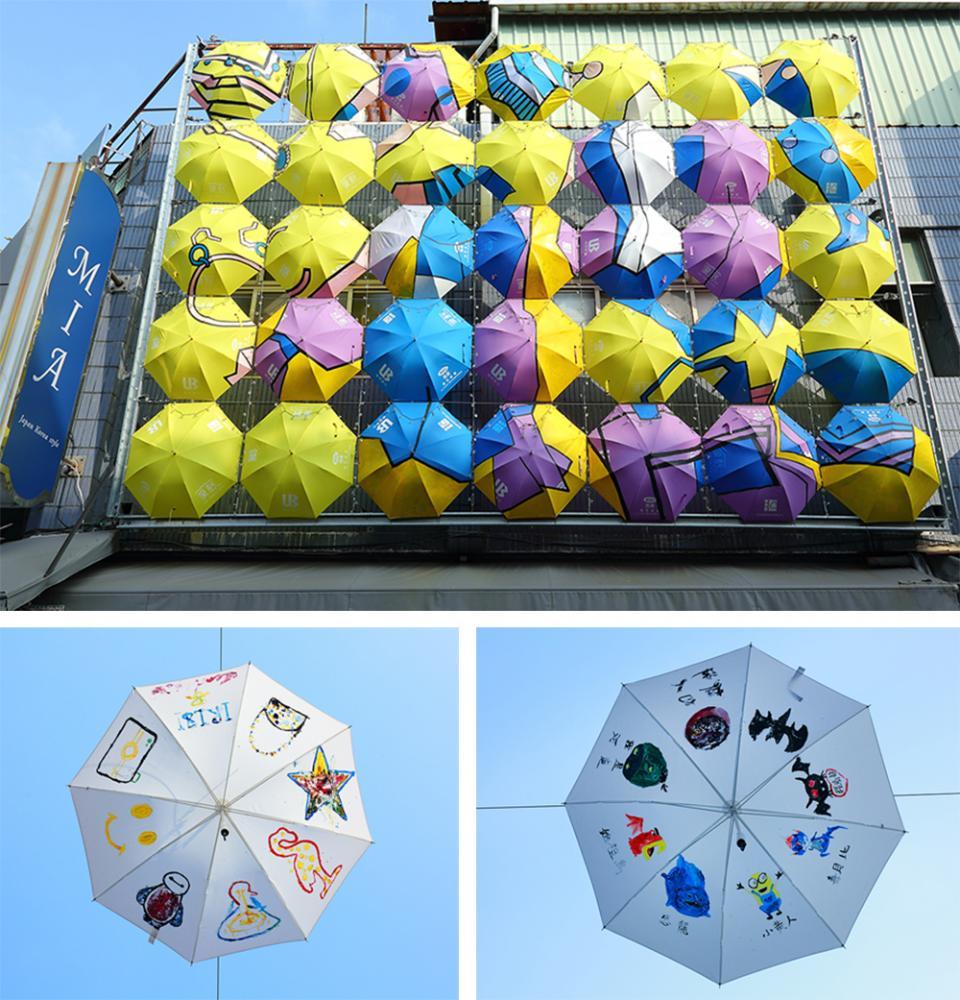 雨傘成為忙碌奔波人們的停頓點,抬起頭觀賞一番,成為生活裡的逗號。(攝影/Cater)