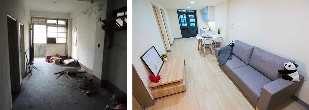 室內客廳整修前後的樣貌。(圖片提供/高雄市政府都發局)