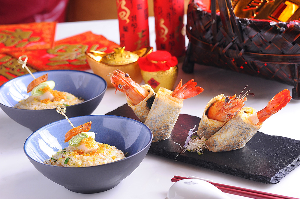 烏魚子、草蝦,清爽上桌。(攝影/潘自強)