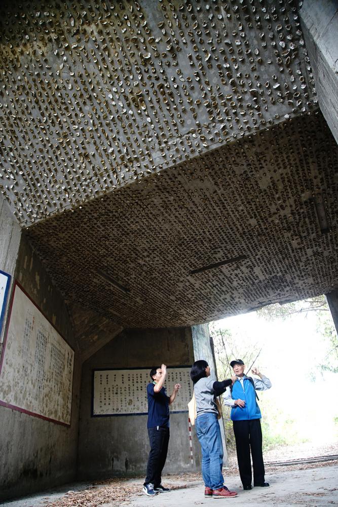 砲陣地建築工法使用大量貝殼,因為砲彈射擊時聲音很大,貝殼具吸音減震的功用。(攝影/曾信耀)