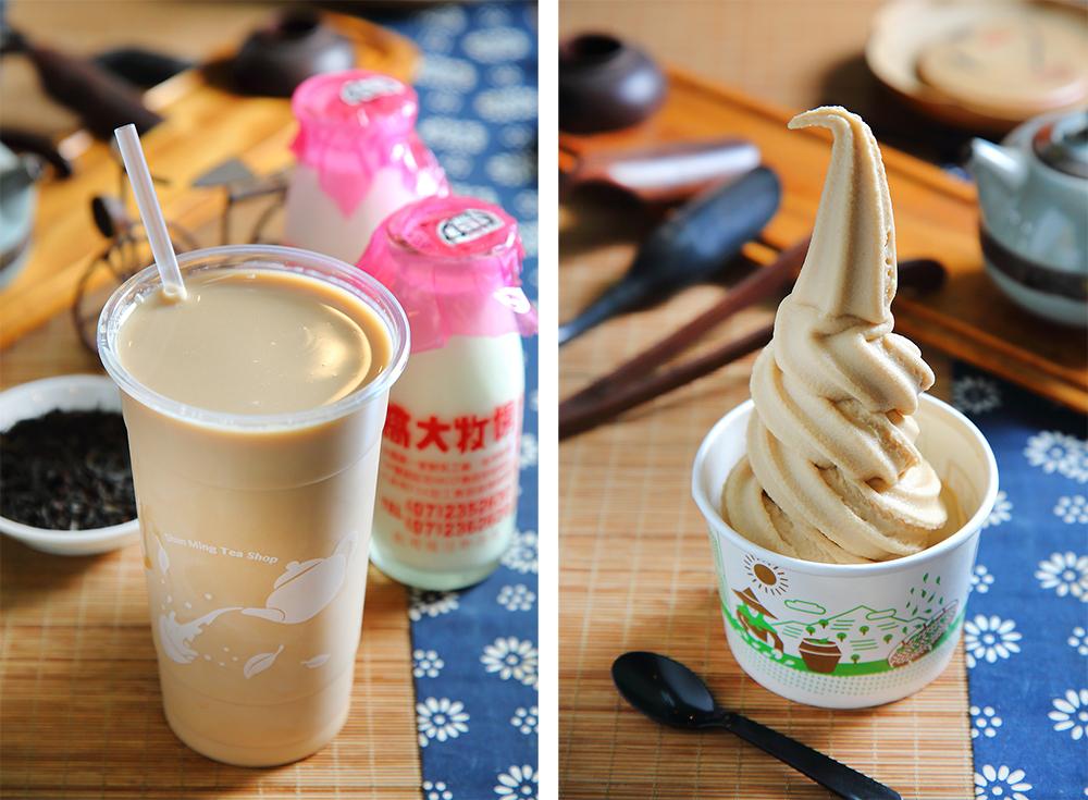 茶拿鐵霜淇淋茶味濃郁。招牌鮮奶茶使用高大牧場鮮奶,是老茶行最人氣的招牌飲料。(攝影/Carter)