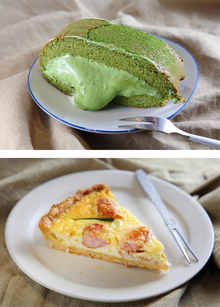 小山園抹茶生乳捲和德式香腸培根鹹派,是聊聊甜室最夯的人氣甜點。(攝影/Carter)