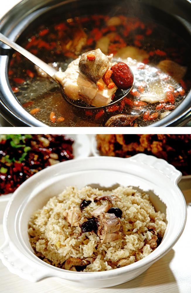 黑蒜雞、香雞米糕,都是大園香雞廚房的招牌菜。(攝影/曾信耀)