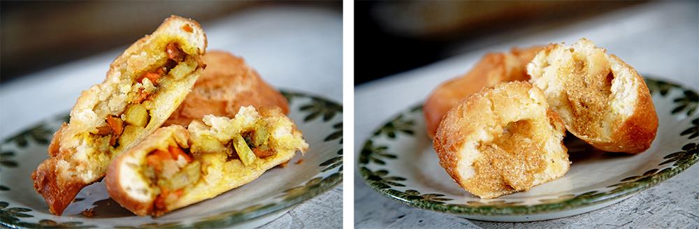 蘇老闆推薦的花生雞蛋酥,而咖哩雞蛋酥是老客人吃不膩的鹹口味。(攝影/曾信耀)