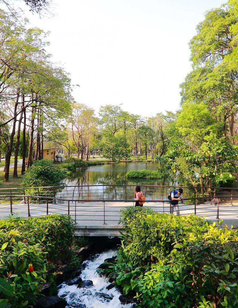 在橋上散步,池底的魚兒悠游水中,引人觀賞注目。(攝影/Carter)
