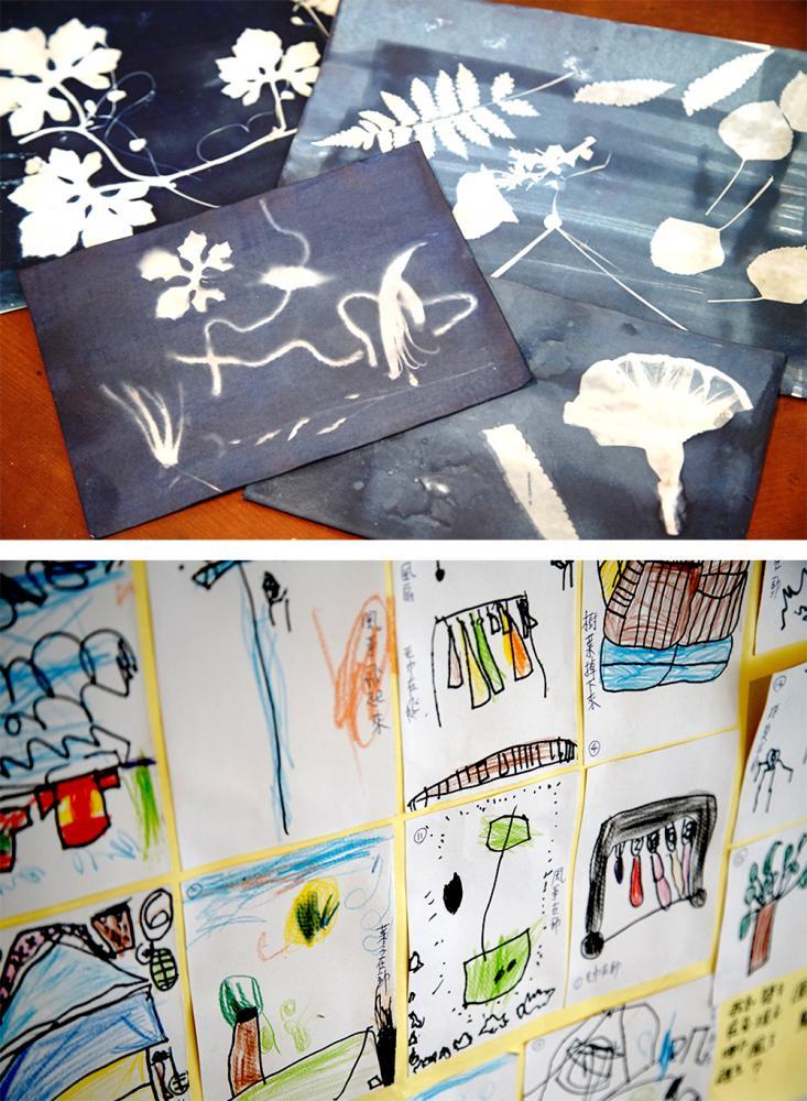 影像交換所舉辦多場活動,如利用在地食材,如苦瓜、香蕉花做成藍曬杯墊DIY,也邀請阿公阿嬤帶孫子來參加繪本藝術創作、聽繪本故事。(攝影/曾信耀)