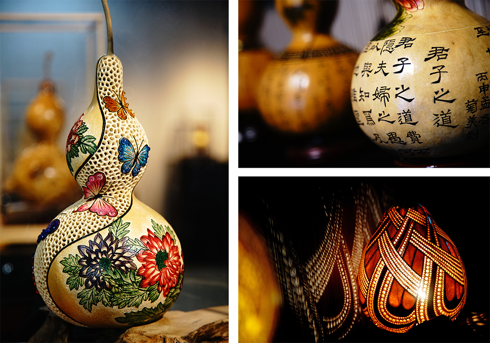 葫蘆工藝包含書法、彩繪、青刻、素雕、烙燒、黏塑等創作形式。(攝影/曾信耀)