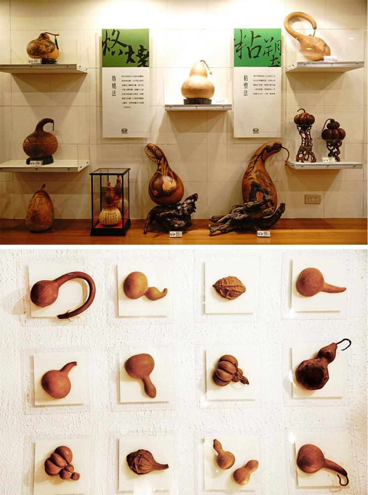 葫蘆雕刻藝術館收藏展示多位瓠藝大師作品,從彩繪、素描多種技法呈現葫蘆工藝之美。(攝影/曾信耀)