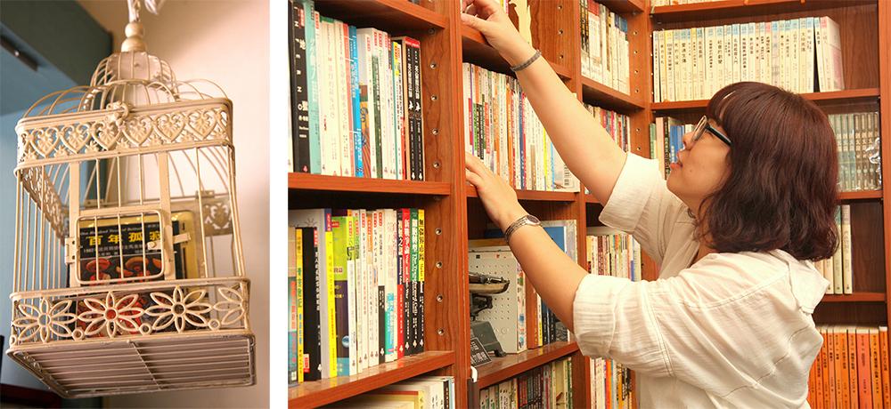 (左)《百年孤寂》精心選書是二手書店暢銷書。(右)等閑書房主人湯若瑜運用自己所學公共政策背景,打理獨立書店。(攝影/ Winnie)
