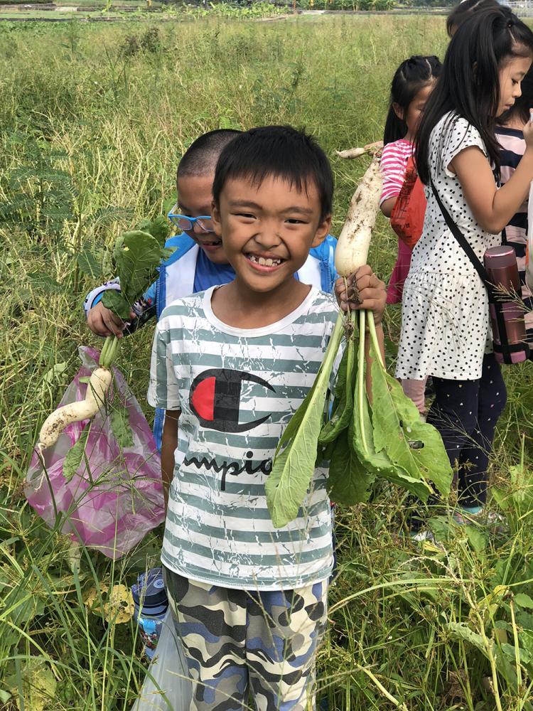 蔬菜田收穫成果就是大家的營養午餐。(照片提供/莊宗霖)