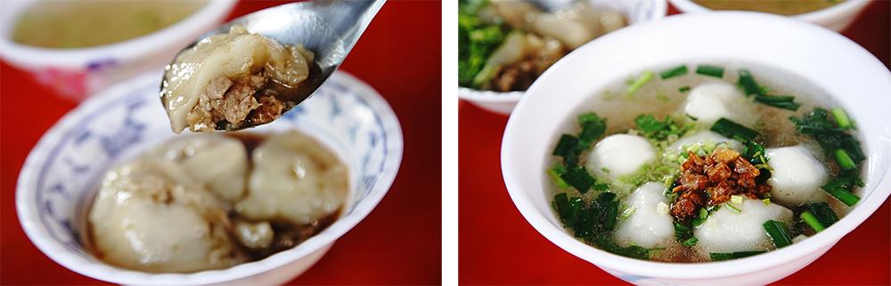 大社三角窗肉圓淋上特製醬油滷汁,是在地人從小吃到大的老味道。鹹湯圓加上自製的油蔥酥,湯頭更添香氣。(攝影/曾信耀)