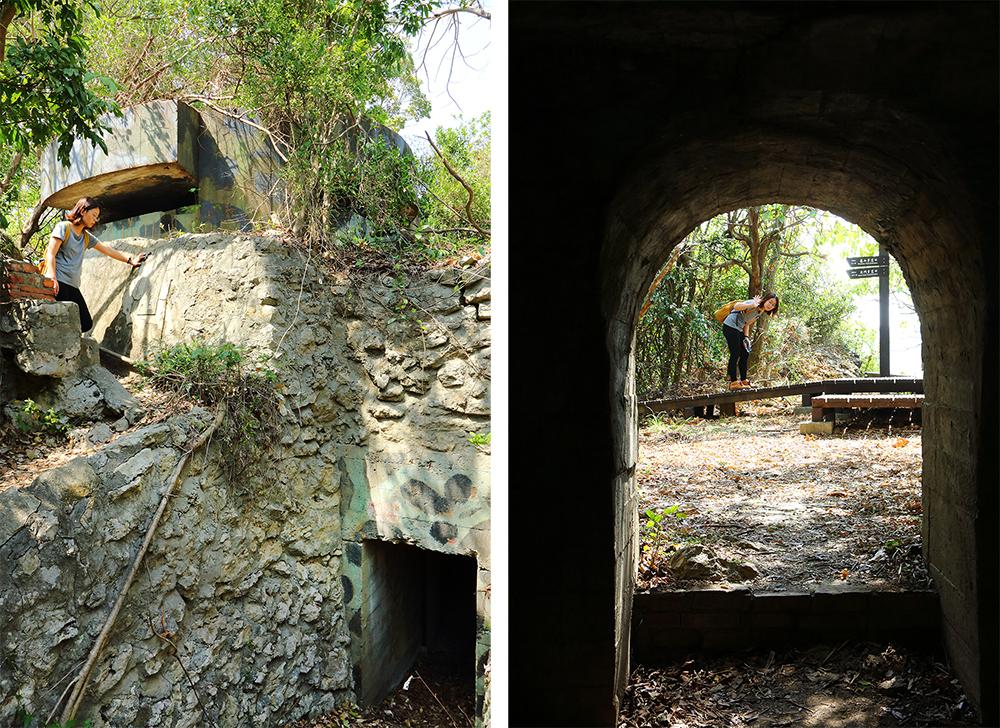廢棄的碉堡、砲台等軍事遺跡,見證當時龜山的戰略位置。(攝影/Carter)